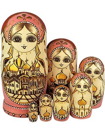 YAKELUS, marca profesional de Matrioska, Muñecas Rusas Matrioska 7 piece Madera Matrioska de Rusia