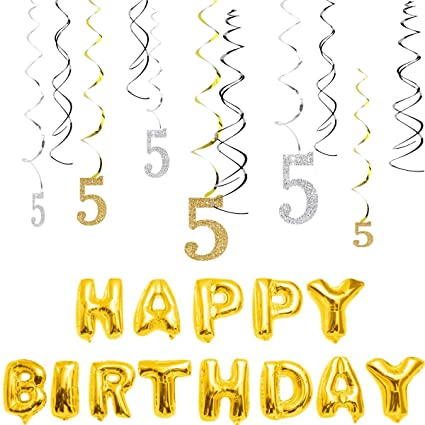 MAGJUCHE 5th Birthday Decorations Kit Gold Silver Glitter Happy 5 Years Old Banner