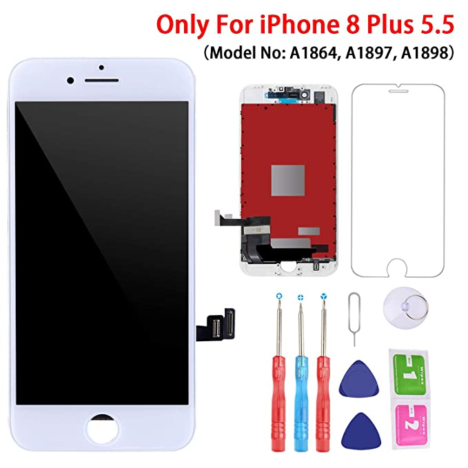new style 5e53e 7300e Screen Replacement White for iPhone 8 Plus (5.5 Inch White), 3D Touch LCD  Screen Digitizer Replacement Frame Display Assembly Set with Repair Tool Kit