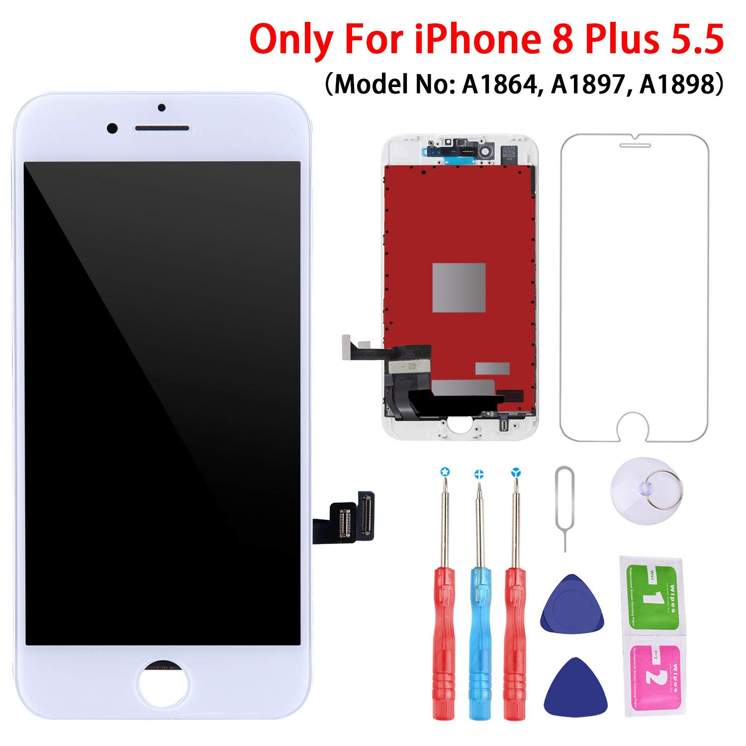 Screen Replacement White for iPhone 8 Plus (5.5 Inch White), 3D Touch LCD Screen Digitizer Replacement Frame Display Assembly Set with Repair Tool Kit