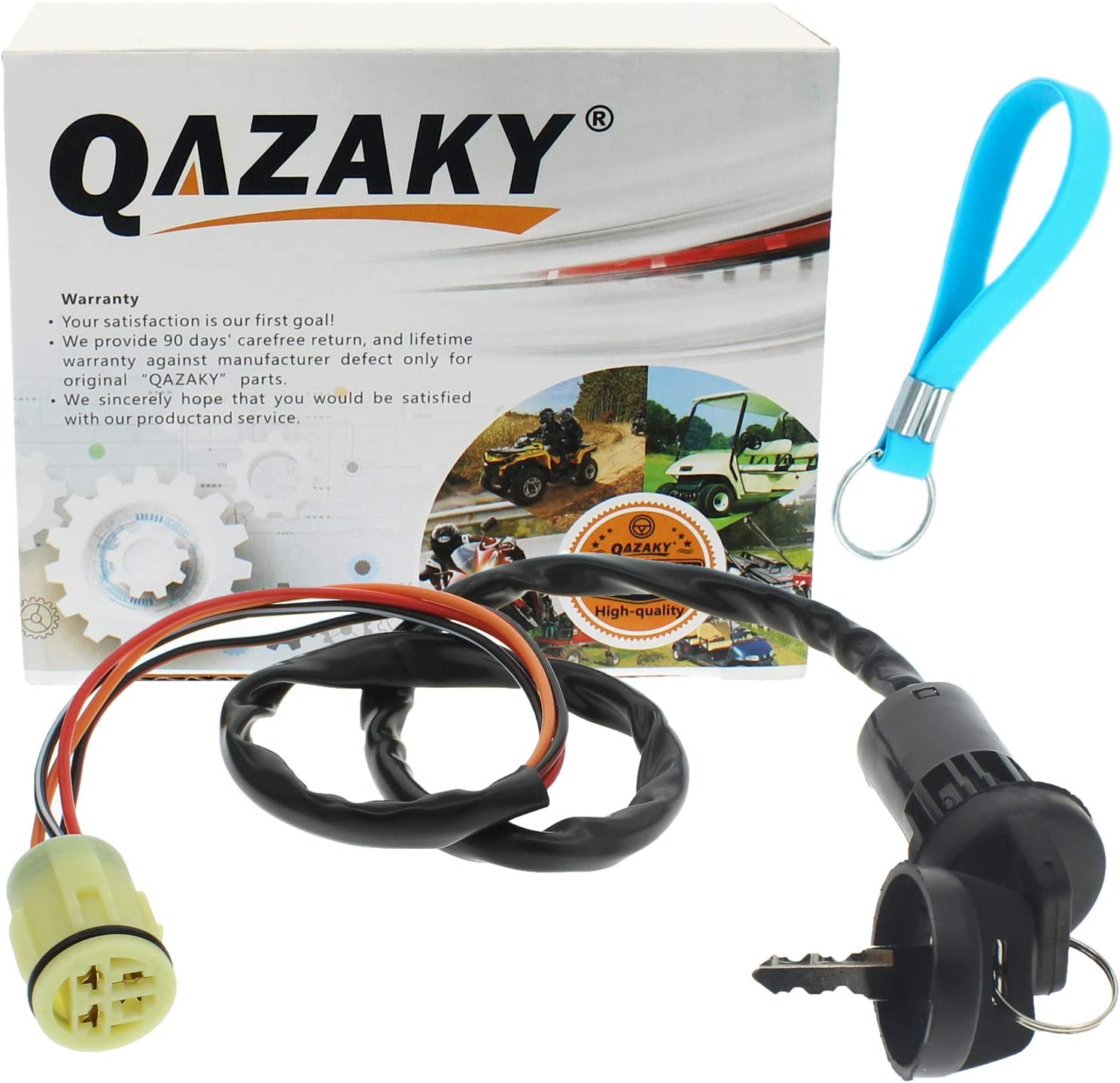 QAZAKY Ignition Key Switch Compatible for Foreman 450 Rubicon 500 Rincon 650 680 TRX450 TRX450ES TRX450FE TRX450FM TRX450S TRX500 TRX500FA TRX500FE TRX500FGA TRX500FM TRX500FPA TRX650 TRX680 TRX680FA