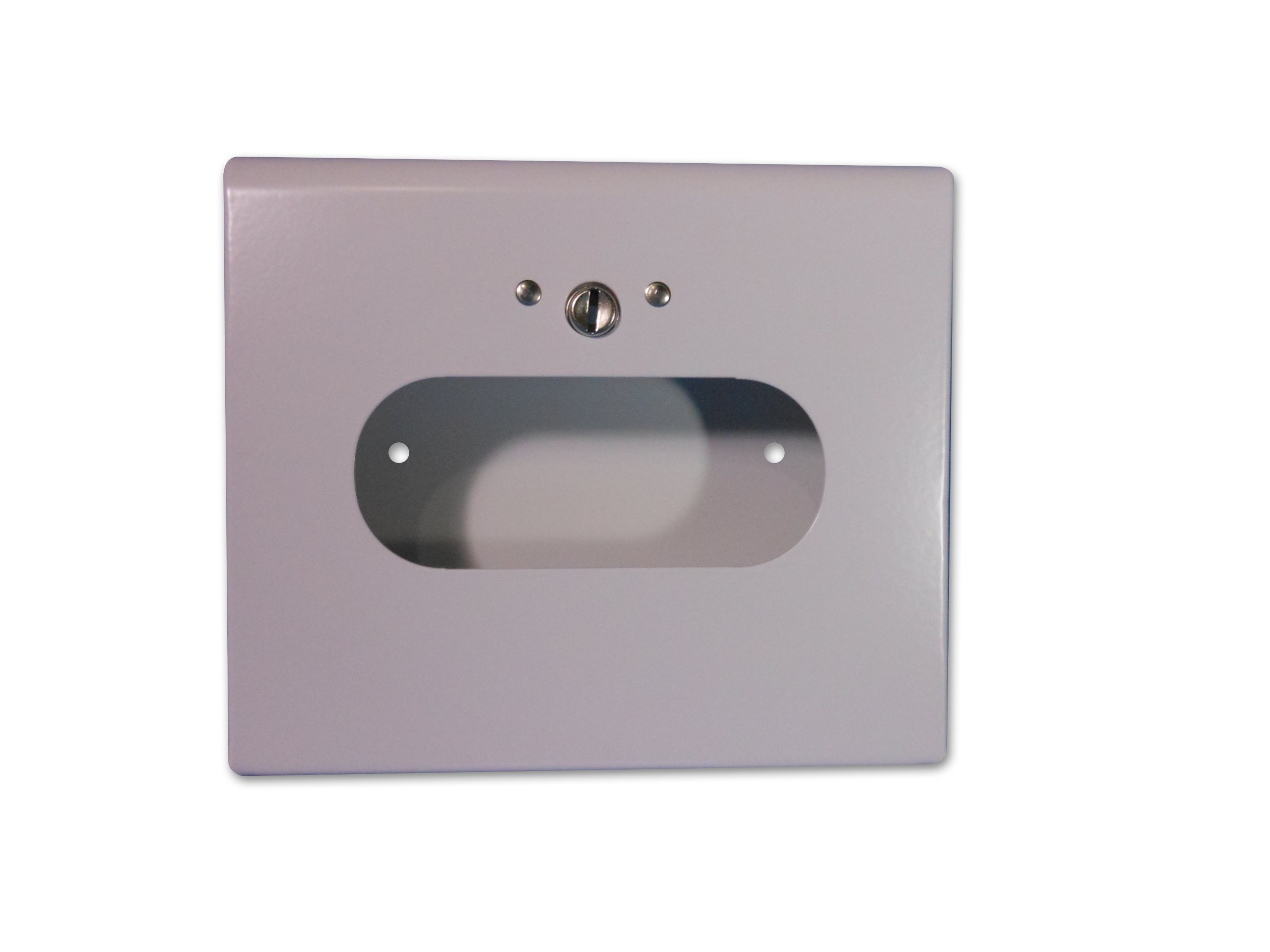 S.A.C SD2012B 22 Gauge Steel Sanitary Napkin Disposal Bag Box Dispenser with Lock, 6-1/4'' Length x 5-1/2'' Width x 1-1/2'' Height, White