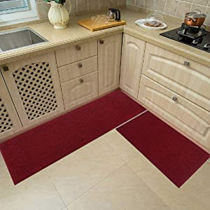 48x20 Inch/30X20 Inch Kitchen Rug Mats Made of 100% Polypropylene 2 Pieces Soft Kitchen Mat Specialized in Anti Slippery and Machine Washable,red