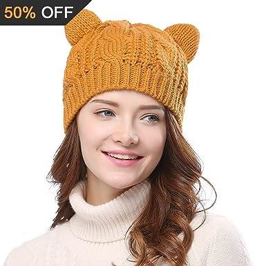Imixcity Chapeau Chat Oreille Femme Crochet Tressés Tricotés Casquettes 5  Couleur (Jaune) 2551094dd2c