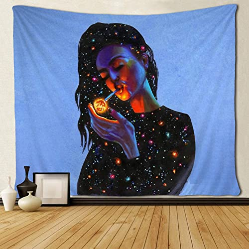 SARA NELL Wall Hanging Tapestry American Women Wear Clothing Galaxy Smoking Planets Tapestries Wall Tapestry Home Decorations for Living Room Bedroom Dorm Decor in 60×90 Inches