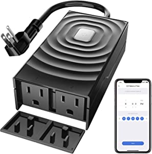 Refoss Waterproof Smart WiFi Plug, Outdoor and Indoor Outlet with 2 Grounded Sockets, Remote Control, Timer, Compatible with Alexa, Google Home and, FCC & ETL Certified