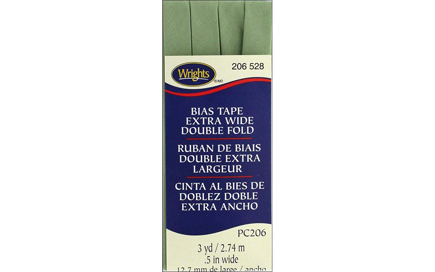 Wrights Sage Double Fold Bias Tape 1/2 X3yd 117206528