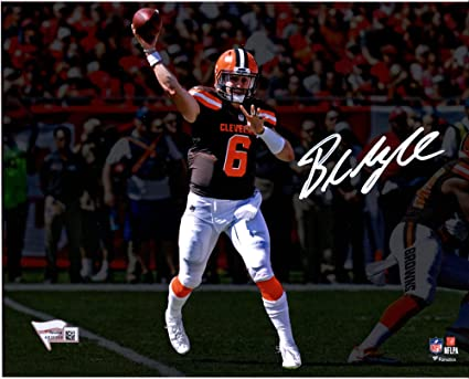 """649437fa9c7 Baker Mayfield Cleveland Browns Autographed 8"""" x 10"""" Brown  Throwing Photograph - Fanatics Authentic"""