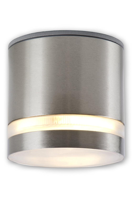 Dimmbare LED Aufbauleuchte IP44 Edelstahl Badleuchte Badlampe 230 V - inkl. dimmbarem satiniertem GX53 LED Leuchtmittel 7 Watt neutralweiss [Energieklasse A+] C-Light GmbH
