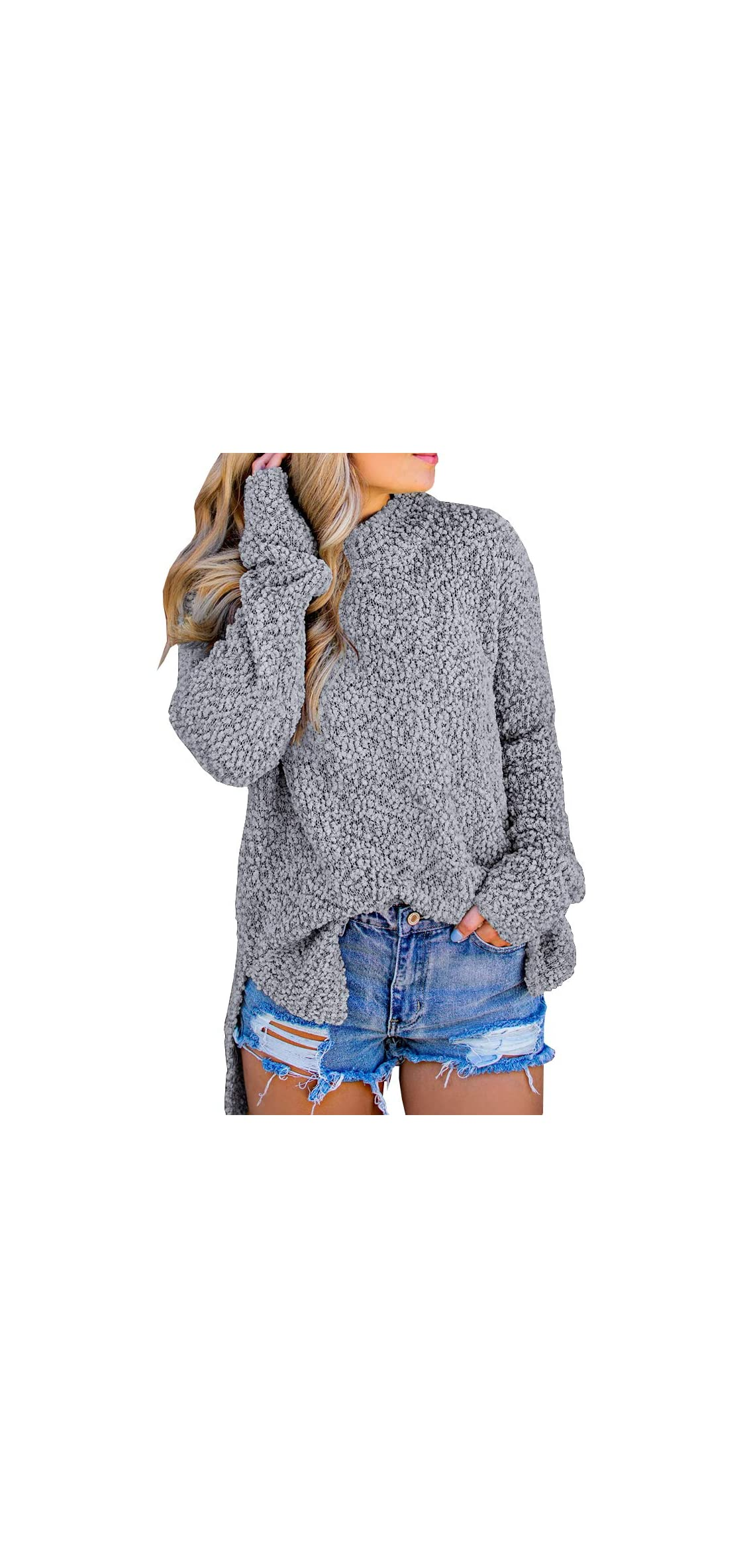 Womens Fuzzy Knitted Sweater Sherpa Fleece Side Slit