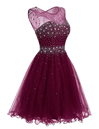 Clearbridal Tulle A Line Burgundy Homecoming Dresses 2018 Short For Juniors Sheer Neck Prom Dresses Ball