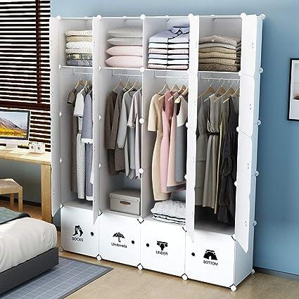 SHIJIAN 8/10 Storage Cube Organizer Wardrobe Modular Closet Plastic  Cabinet, Shelving Storage Drawer