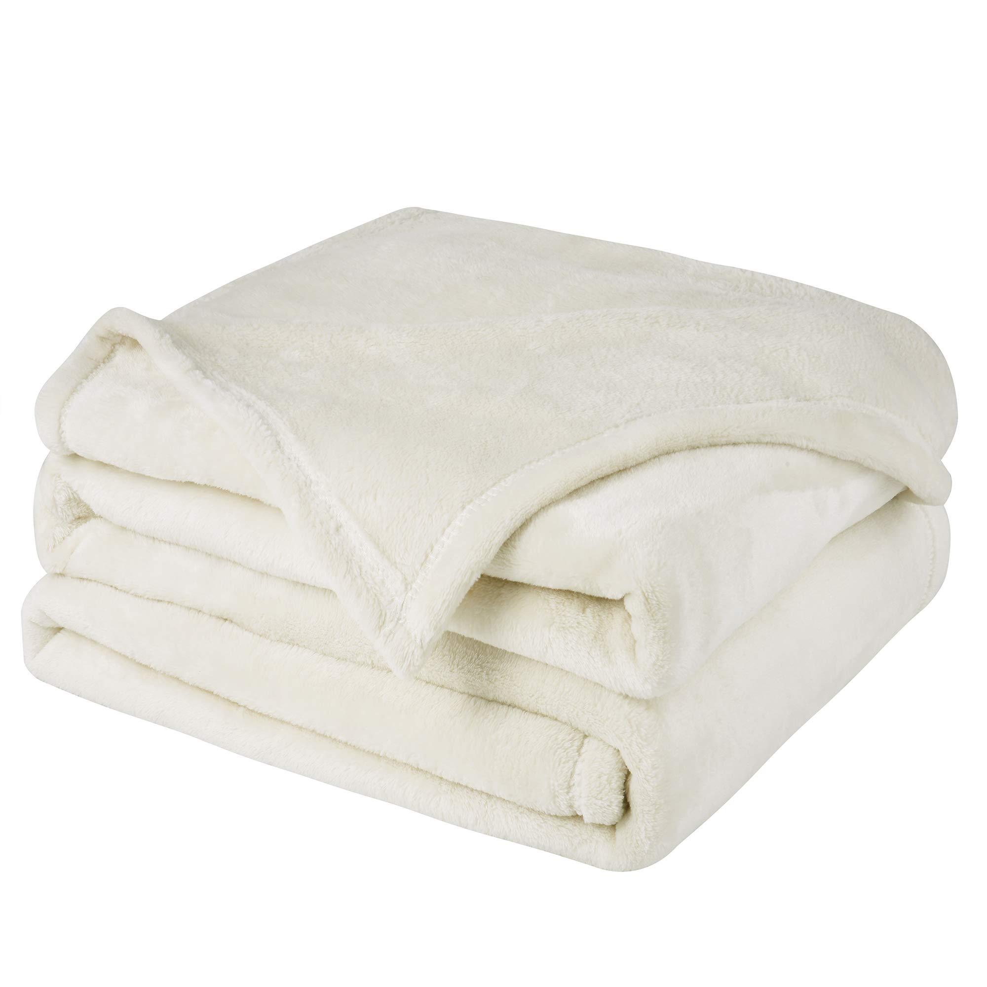 WONTEX Flannel Fleece Blanket Super SoftLightweightMicrofiberBlanketfor Twin Bed, Wood Beige, 60 x 80 inch