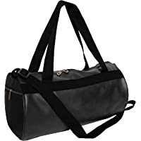 Priish Leather Fitness Gym Bag Shoulder Duffel Backpack for Travel with Side Compartments for Men and Women Gym Basketball Football Cricket Kit Multipurpose - Large (Brown and Black) (Black)