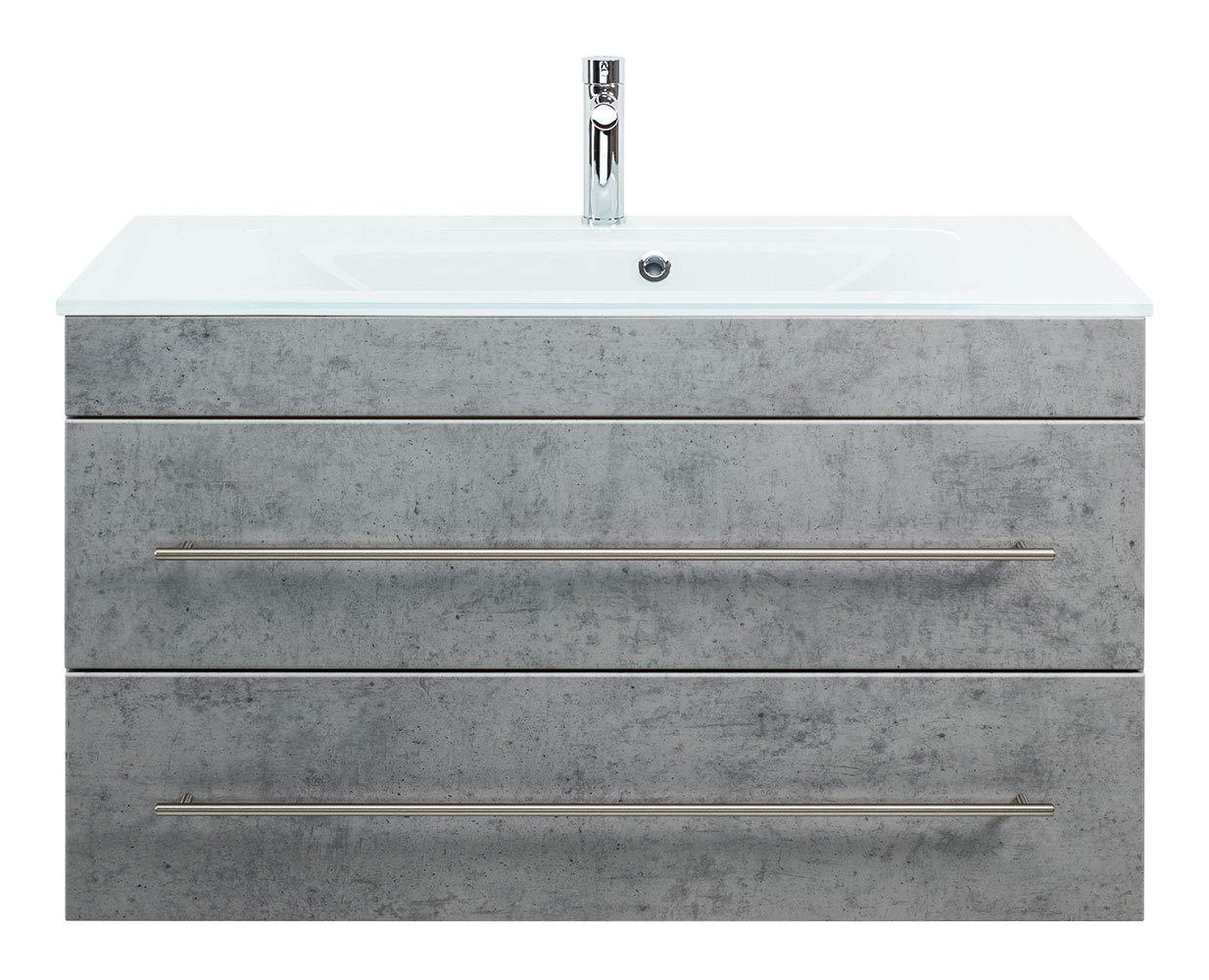 Emotion Bathroom furniture VITRO 1000 with glass basin vanity unit concrete grey