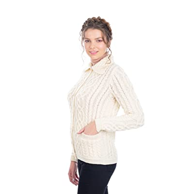 100% Merino Wool Aran Celtic Knit Women Cardigan with Pockets at Women's Clothing store