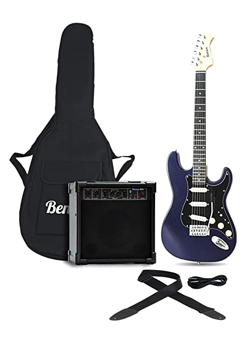 Benson St blueb Sunburst – Guitarra eléctrica con amplificador Incluye sintonizador Mini amplificador electrónico