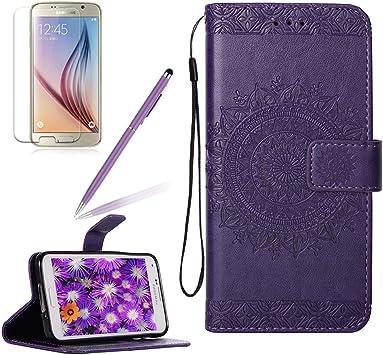 Carcasa para Samsung Galaxy S5 Flores Cuero Funda de Piel, Girlyard Libro Flip Bateria Estuche Protector
