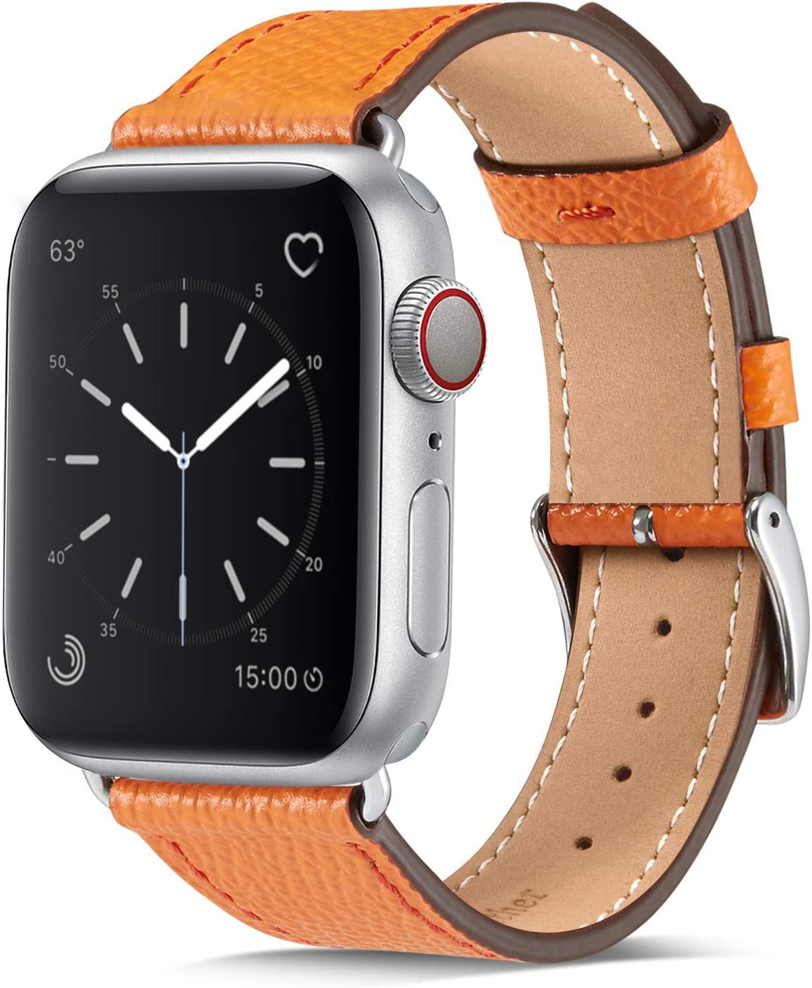 Marge Plus Compatible with Apple Watch Band 44mm 42mm 40mm 38mm, Genuine Leather Replacement Band for iWatch Series 6 5 4 3 2 1, SE (Orange/Silver, 40mm/38mm)