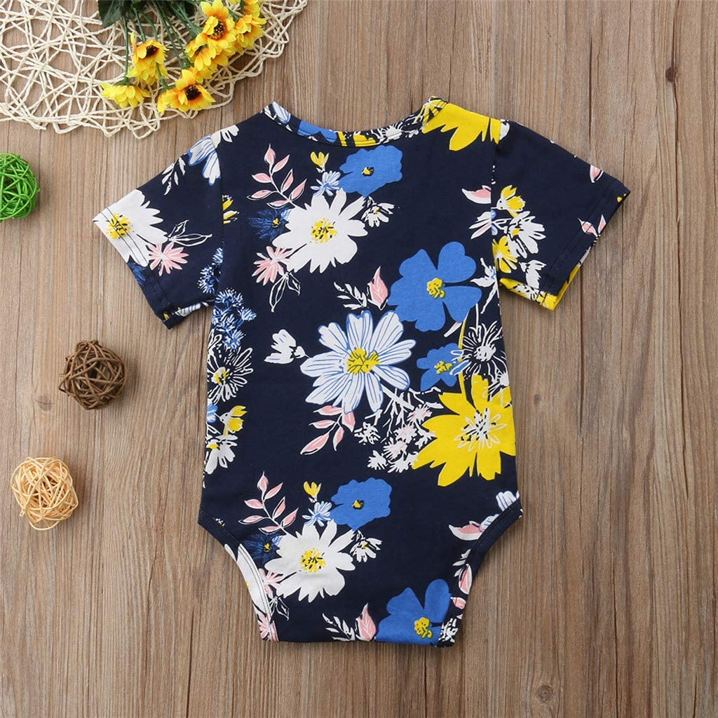 Baby Toddler Girls Boys Summer Clothes Jumpsuit Onesies 6-18 Months Infant Floral Print Romper Bodysuit Outfits