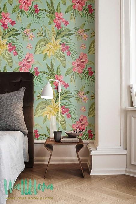 Blooming Selva Papel Pintado   Extraíble Wallpaper   Papel Pintado Tropical    Exotic   Adhesivo Decorativo
