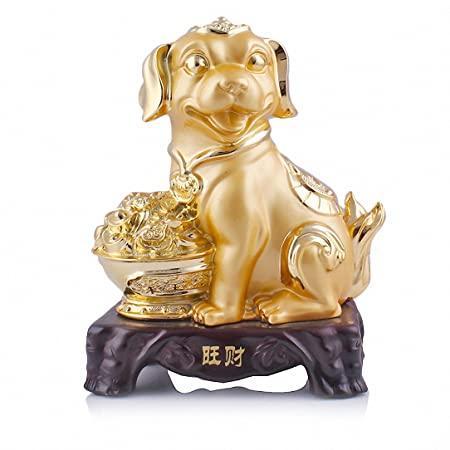 Wenmily Large Size Chinese Zodiac Dog Golden Resin Collectible Figurines Table Decor Statue