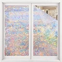 Volcanics Window Privacy Film Static Window Clings Vinyl 3D Window Decals Window Stickers Rainbow Window Film for Glass…