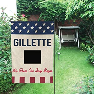 Garden Flags 12 x 18 Inches Independence Day - Gillette City Wyoming State It's Where Our Story Began - Decorative Welcome House Flag Banners Double Sided for Garden, Home Decor