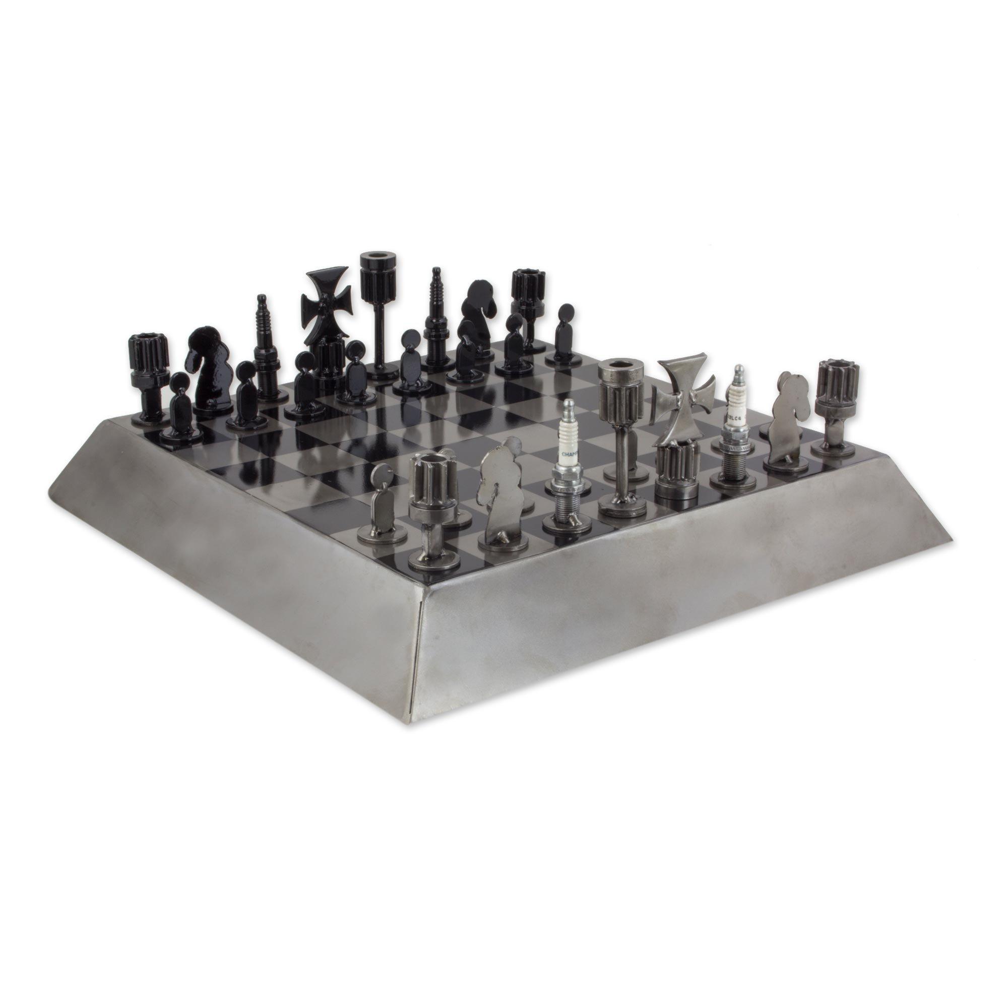 NOVICA Metallic Steel Recycled Metal Chess Sets 'Rustic Pyramid'
