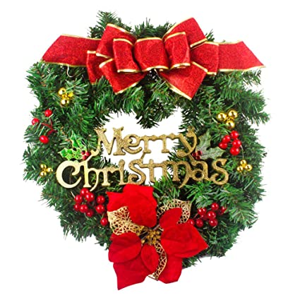 vovomay 50cm red bow flower hanging wreath christmas decoration ornament sets greenery garland home office wall