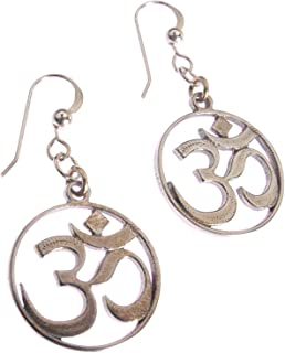 product image for Delicate Om Peace Bronze Earrings on French Hooks