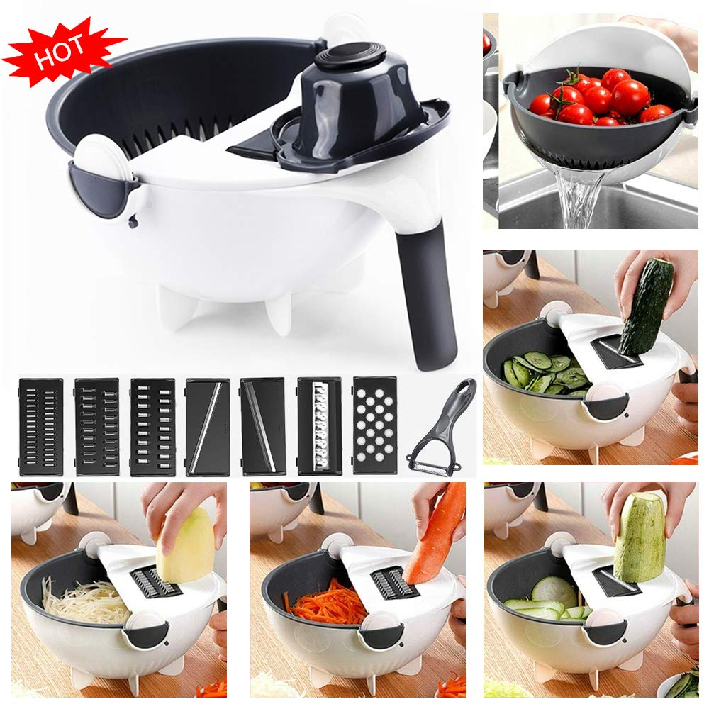 Multifunctional Magic Rotate Vegetable Cutter Chopper Portable Grater Kitchen UK