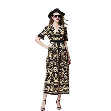 JUWOJIA Última Moda Mujer Verano Retro Imprimir Largo Vestido Largo con Cuello En V Vestidos De