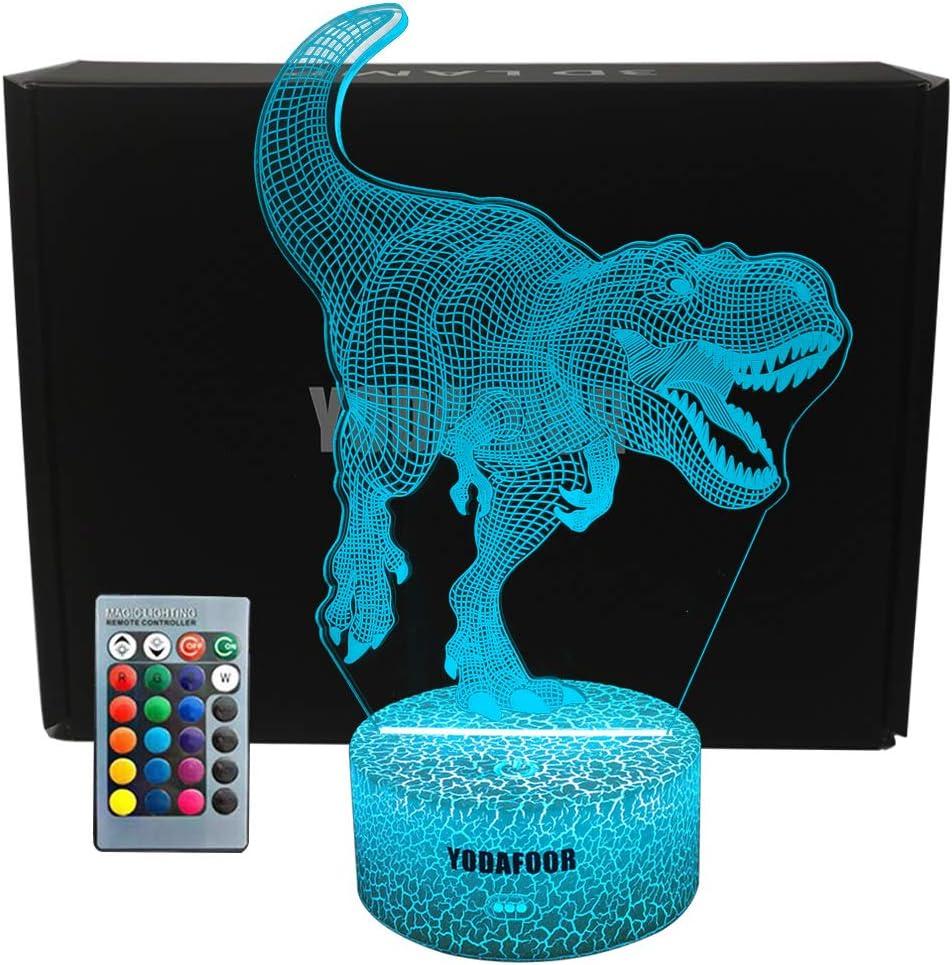 YODAFOOR T-rex Dinosaur Night Light Lamp Birthday Halloween Christmas Dinosaur Gift for Boy Teen Kid Girl Men Nursery Bedroom Decor 16 Color Changing Remote Control Bedside Diming Control Table Lamp