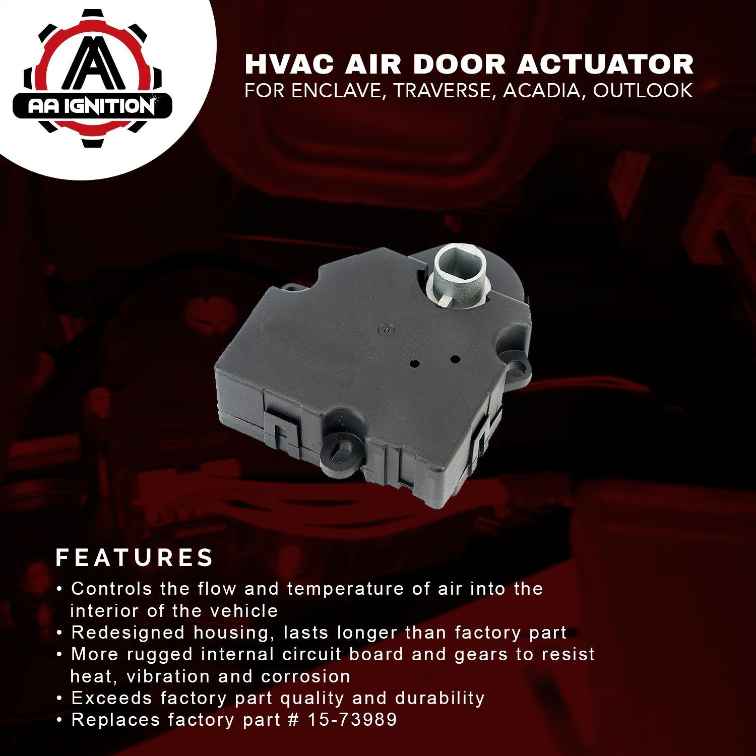 Hvac Air Door Actuator Replaces 15 73989 604 140 2010 Saturn Outlook Fuse Box 20826182 1573989 Fits Chevy Traverse 2009 2011 2012 Gmc Acadia 2007