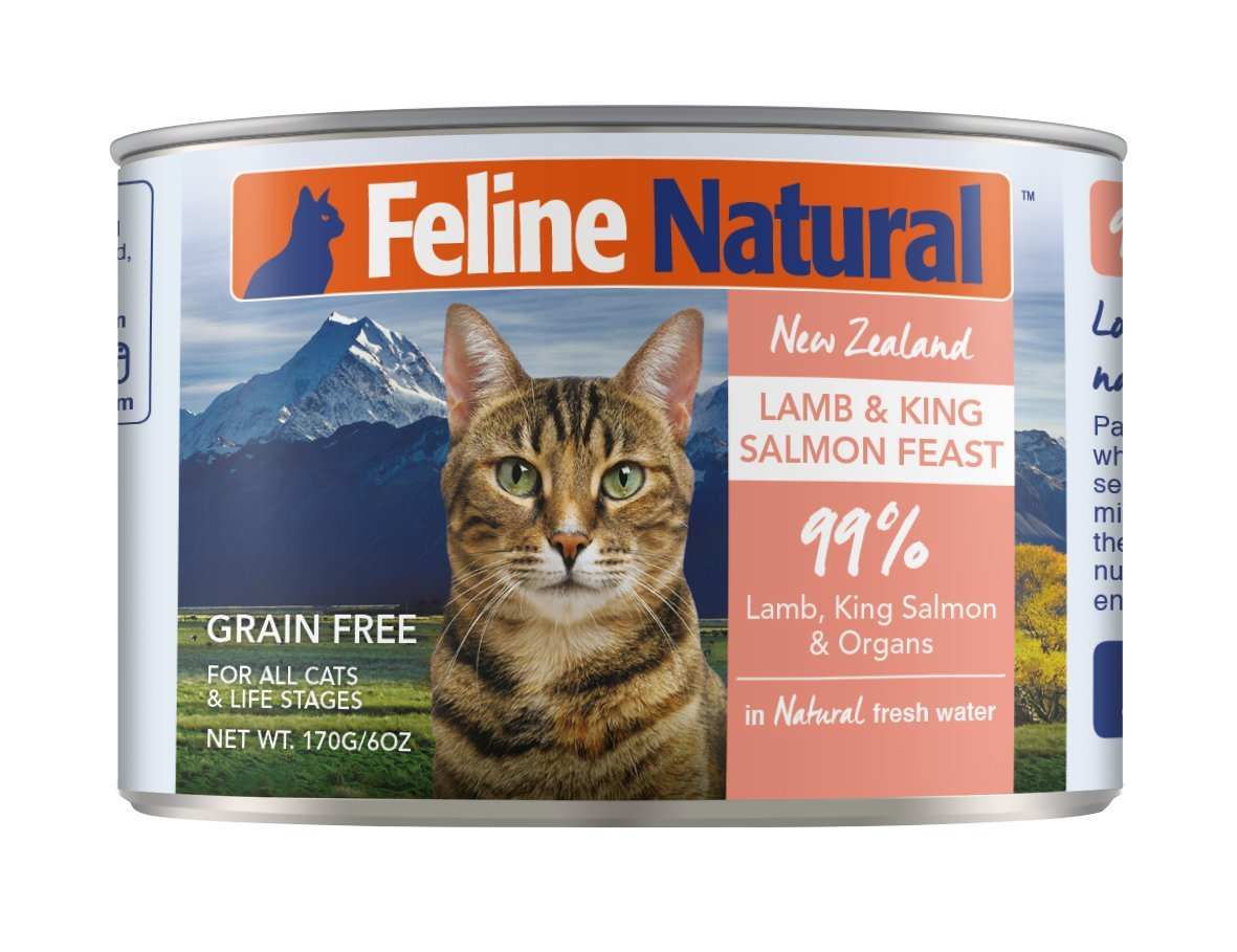 Canned Cat Food by Feline Natural - Perfect Grain Free, Healthy, Hypoallergenic Limited Ingredients - BPA-Free Wet Cat Food - Nutrition for All Cat Types - Lamb & Salmon - 6oz (24pack) by K9 Natural/Feline Natural