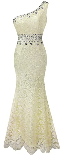 Angel-fashions Women's Apricot Lace Bead Mermaid Sweep Maxi Prom Dress