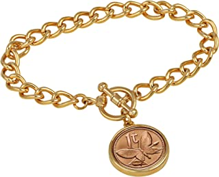 product image for Women's Butterfly Coin Charm Bracelet – Butterfly Coin for Collectors with Goldtone Curb Style Chain and Toggle Clasp – High Polished 7 ½ inch bracelet for Women   Elegant Gift Box Included