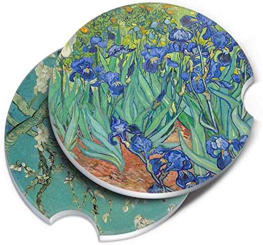 The Starry Night Van Gogh ROUND Ceramic Stone Car Coasters for Drinks The Starry Night Moon Van Gogh 2pcs Set CARIBOU Coasters