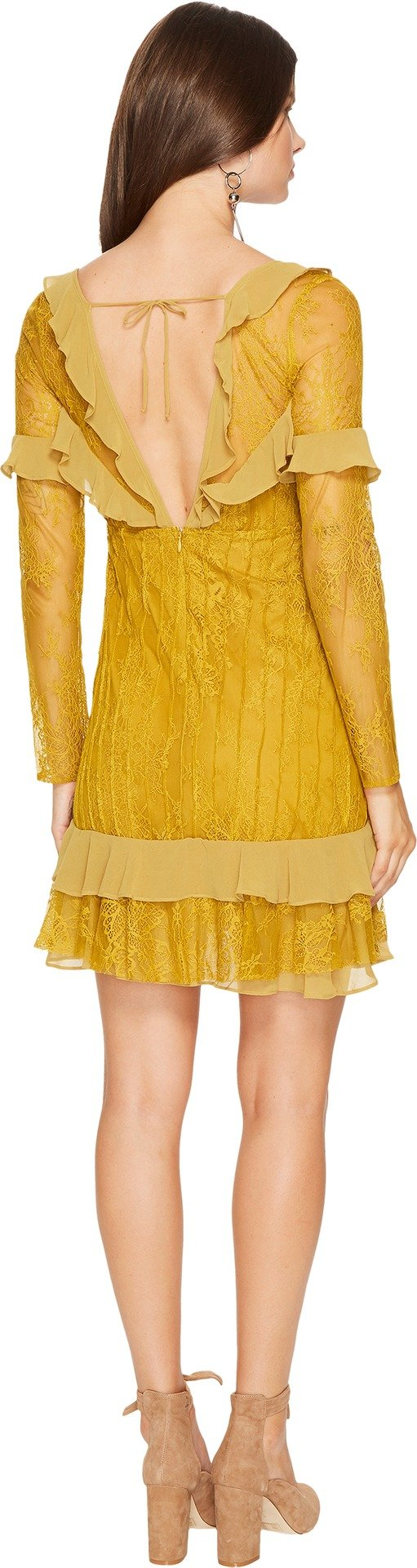 For Love & Lemons Women's Daphne Lace Mini Dress, Chartreuse, Small