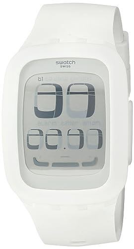 Swatch SURW100 - Reloj analógico de cuarzo unisex, correa de plástico color blanco: Swatch: Amazon.es: Relojes