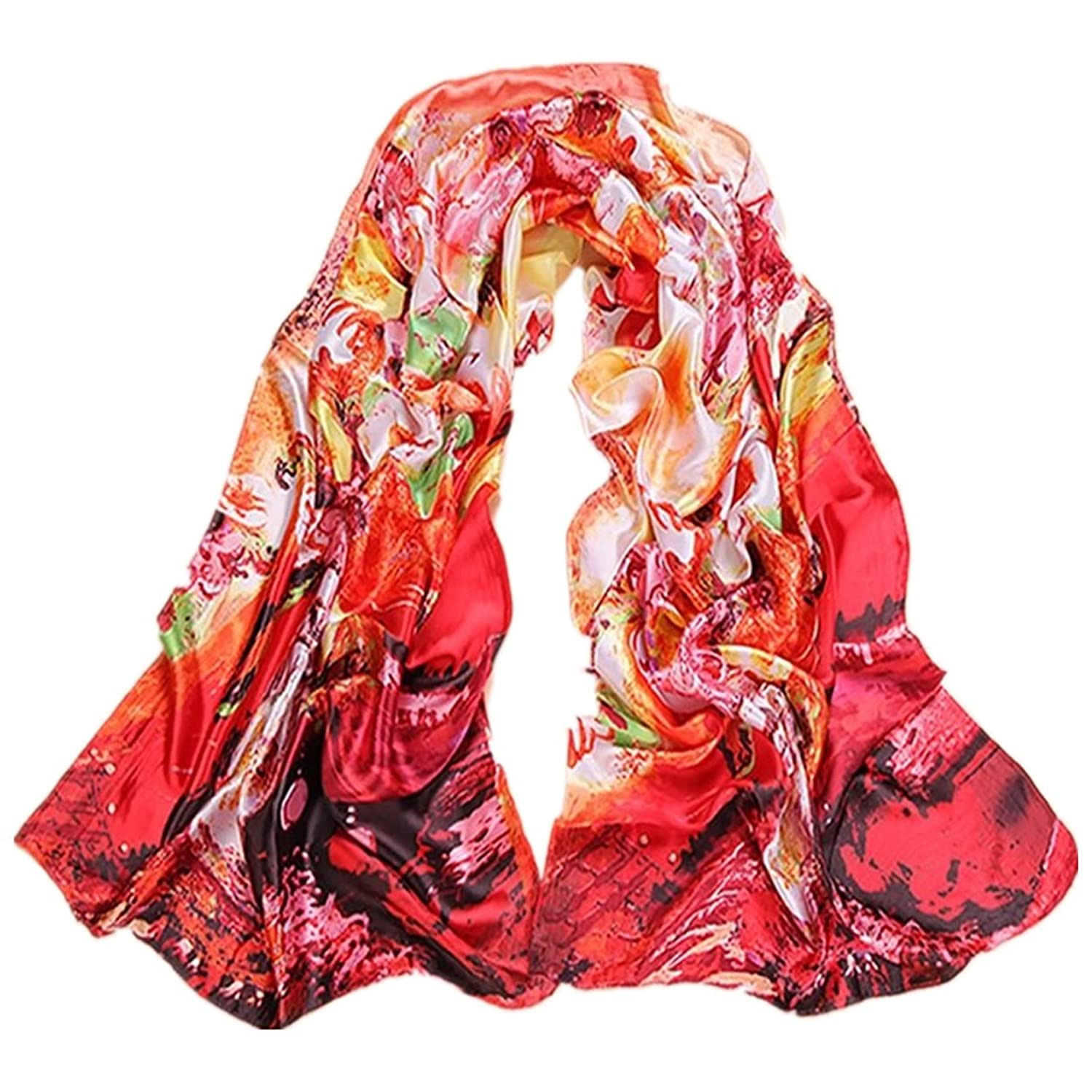 Kook Club Women's and Girls Fashion Silk Scarf Floral Pattern