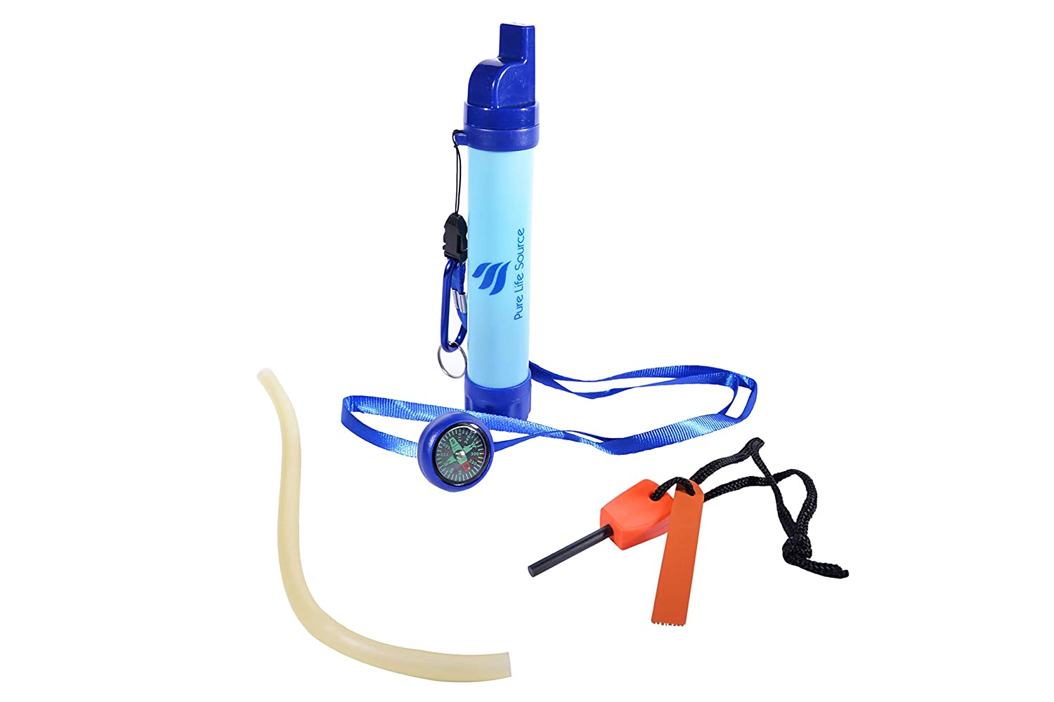 WATER FILTER STRAW – Survival Pack – Approx 2,000 liters of Pure Safe Drinking Water. Includes Survival Accessories Pure Life Source a Portable Reusable Health Tool for Outdoor Activities