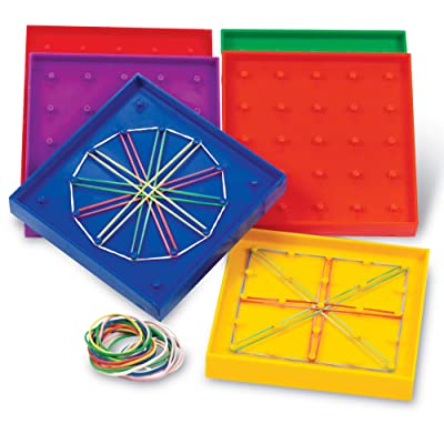 Learning Resources 5-Inch Double-Sided Assorted Geoboard Shapes, Set of 6 Boards, Ages 5+, Multi-color: Office Products