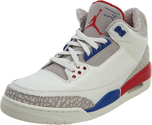 NIKE Mens Air Jordan 3 Retro Powder WhiteFire Red cement Grey Leather Basketball Shoes