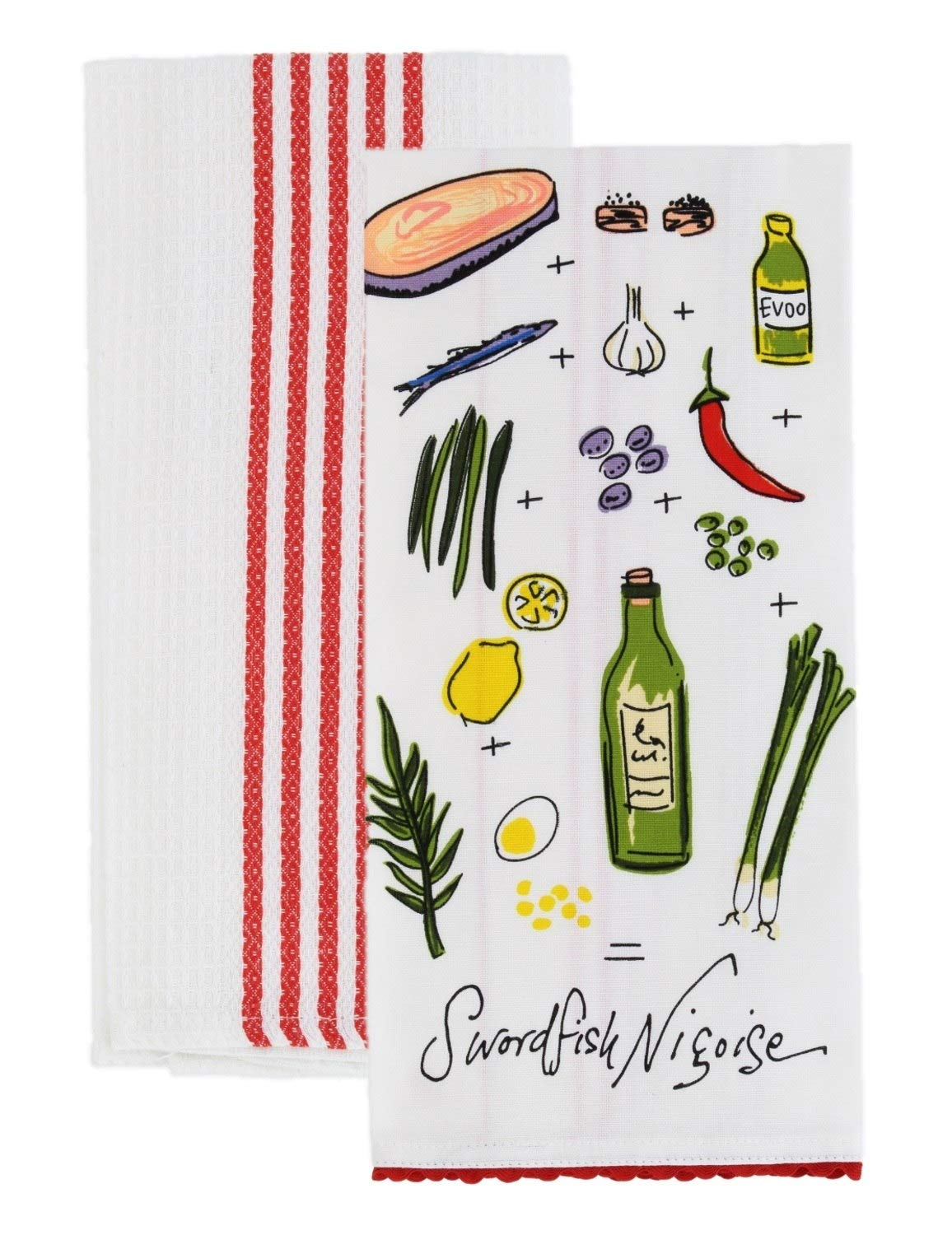 Rachael Ray Kitchen Dish Towel/Cloth (2 pk) - Use on Hands, Dry or Wet Messes/Spills - 100% Cotton - Includes 1 Flour Sack Towel Decorated with Genuine Swordfish Recipe - Red & 1 Waffle Weave Towel