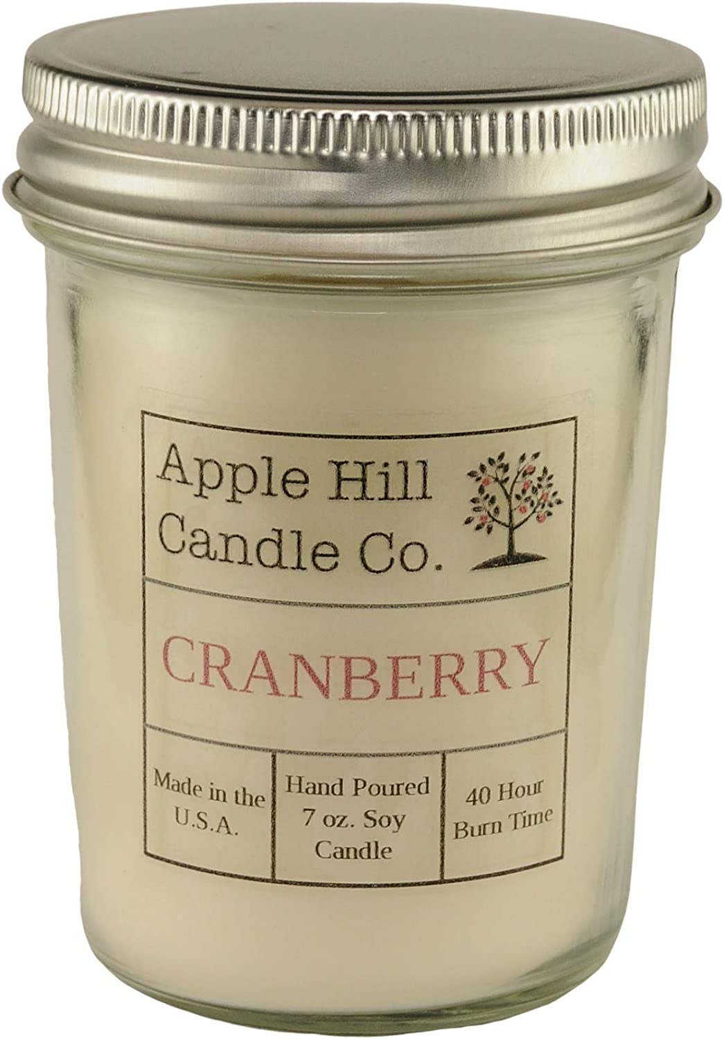 Handmade Natural Soy Candle - Cranberry (7 oz.)
