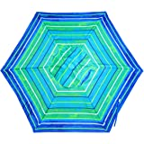 Shadezilla 7-8 ft Beach Umbrella | Patio Market Umbrellas UPF100 Wood Grain Finish Frame, Carry Bag