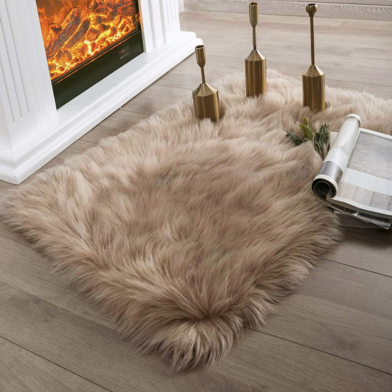 Ashler Faux Fur Beige Rectangle Area Rug Indoor Ultra Soft Fluffy Bedroom Floor Sofa Living Room 2 X 3 Feet Amazon Ca Home Kitchen