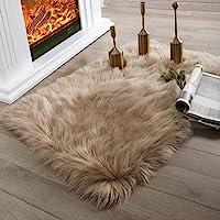 Ashler Faux Fur Beige Rectangle Area Rug Indoor Ultra Soft Fluffy Bedroom Floor Sofa Living Room 2 x 3 Feet